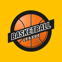 Vector basketball league logo with ball. Sport badge for tournament championship or league