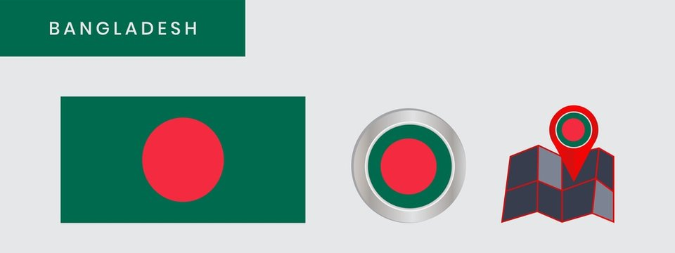 The flag of Bangladesh is horizontally isolated in official colors, map pins, like the original