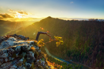 Beautiful sunrise on sokolica hill in polish mountains