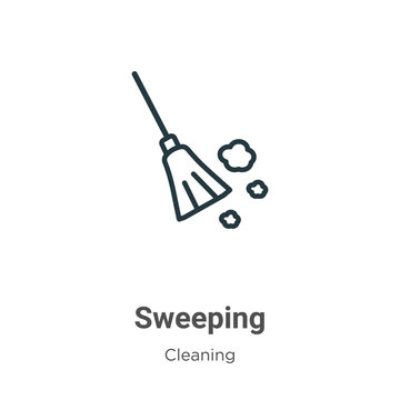 Sweeping outline vector icon. Thin line black sweeping icon, flat vector simple element illustration from editable cleaning concept isolated on white background
