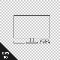 Black line Video game console icon isolated on transparent background. Game console with joystick and lcd television. Vector Illustration