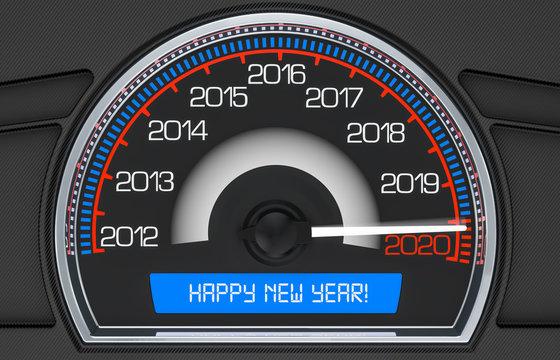 2020 Speedometer New Year concept, 3D rendering