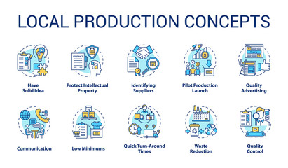 Local production concept icons set. Planning and launching small business. Commercial activity. Company management idea thin line illustrations. Vector isolated outline drawings. Editable stroke