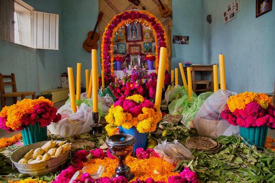 Puebla, Mexico - November 1st, 2019: An altar for Day of the Dead (Dia de Muertos) celebrations, prehispanic altar