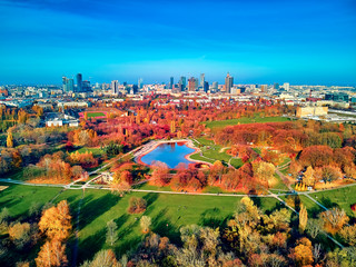 A beautiful panoramic view of the sunset in a fabulous November autumn evening at sunset from drone...