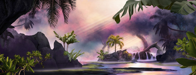Beautiful dreamy sunset lagoon jungle landscape with palm trees and tropical leaves, can be used as background or wallpaper