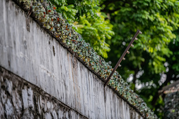 Smashed glass bottles are stuck on the top of a wall to prevent prisoners escaping from the Hanoi Hotel political prison in Vietnam