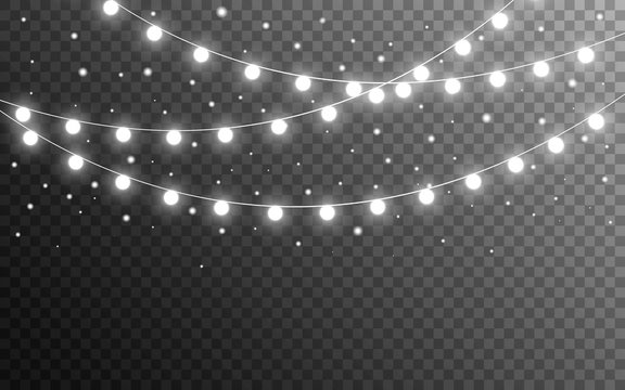 Christmas lights and snow flakes on transparent backdrop. Realistic luminous elements. Glowing silver garlands. Bright light bulbs for website, card or poster. Vector illustration