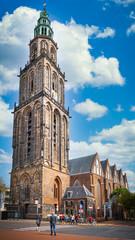 Martini Tower (Martinitoren) in Main Market Square (Grote Markt), Gronigen, Netherlands