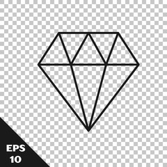 Black line Diamond icon isolated on transparent background. Jewelry symbol. Gem stone. Vector Illustration