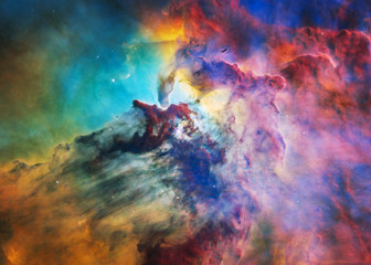 The Lagoon Nebula in bright colours. Deep space look. Science fiction wallpaper. Elements of this image were furnished by NASA.