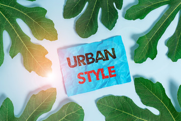 Conceptual hand writing showing Urban Style. Concept meaning fashion that have emerged from the...