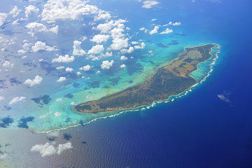 Aerial view of the Caribbean island of Anegada in the British Virgin Islands
