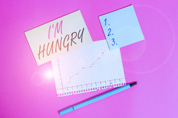 Writing note showing I M Hungry. Business concept for having a strong wish or desire for something to put on stomach Stationary and note paper math sheet with diagram picture on the table