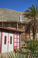 Historic building in the thriving mining city of Pisagua at the beginning of the 20th century. Tarapacá region. Chile