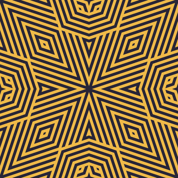 Vector geometric linear seamless pattern. Modern abstract vector background. Black and yellow graphic texture with stripes, triangles, rhombuses, diagonal lines, repeat tiles. Creative stylish design