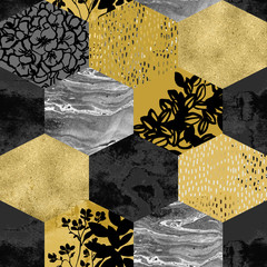 Geometric shape with watercolor, marbling, gold grained, grunge, paper, geo textures.