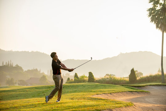 golfer  playing  golf  at  golf  course
