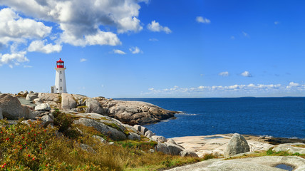 Recess Fitting Canada Panorama of harbor with Nova Scotia's iconic Peggys Cove Lighthouse on a sunny day