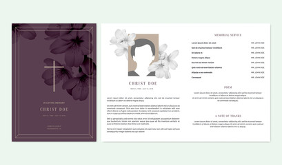 Floral memorial and funeral invitation card template design, cherry blossom flowers, purple tone