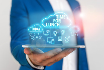 Conceptual hand writing showing Time For Lunch. Concept meaning Moment to have a meal Break from work Relax eat drink rest