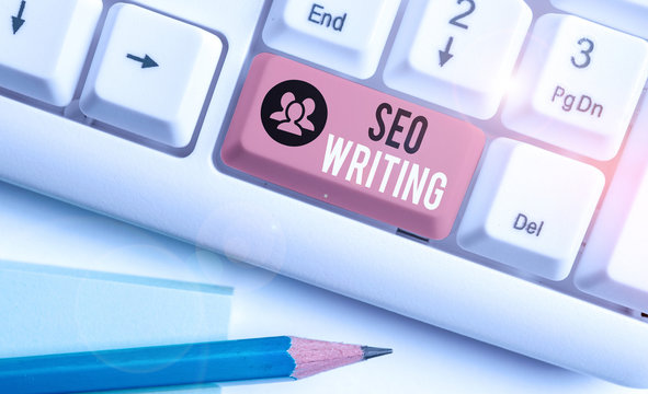 Word writing text Seo Writing. Business photo showcasing grabbing the attention of the search engines using specific word