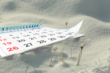 calendar on winter snow background