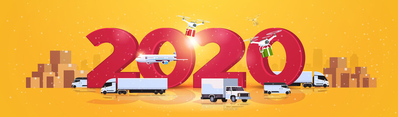 shipping delivery truck quadcopter plane cargo transport global logistic network concept horizontal 2020 cardrboard boxes background horizontal vector illustration