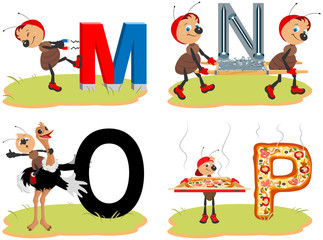English alphabet set funny pictures words. Magnet, nail, ostrich and pizza