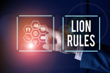 Writing note showing Lion Rules. Business concept for epitome of strength power and masculinity Master of own domain Picture photo network scheme with modern smart device