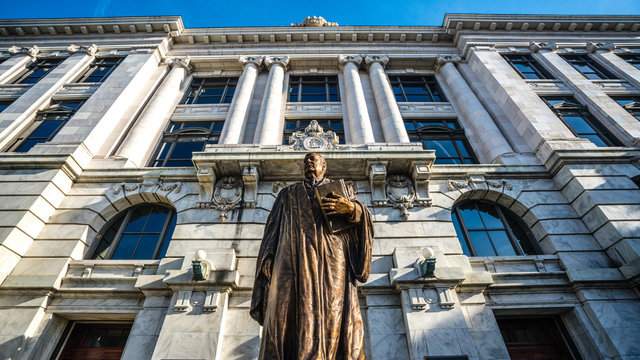 Louisiana State Supreme Court building in New Orleans with statue of edward douglas White, US supreme Court Justice La. from Louisiana.