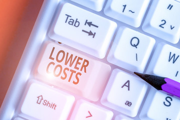Word writing text Lower Costs. Business photo showcasing the business sets low price to enhance...