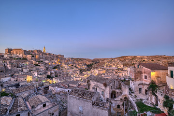 The old town of Matera in southern Italy at dusk