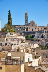 The old town of Matera in Italy with the cathedral in the back