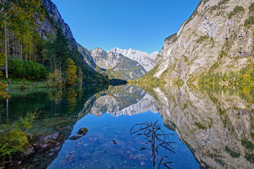 The beautiful Obersee in the Bavarian Alps with Mount Watzmann in the back