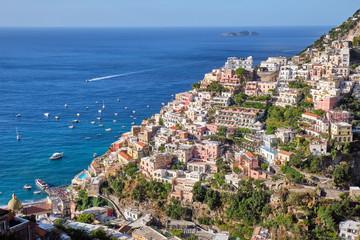 Lovely Positano on the italian Amalfi Coast on a sunny day