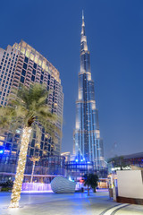 Awesome evening view of the iconic Burj Khalifa Tower, Dubai