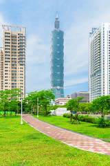 Scenic view of Xiangshan Park and Taipei 101, Taiwan