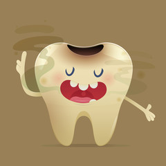 Halitosis concept of cartoon tooth with bad breath