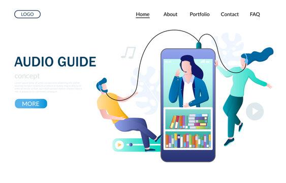 Audio guide vector website landing page design template