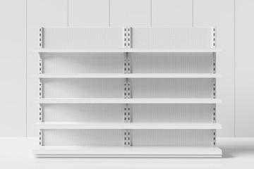 Fototapeta Realistic empty supermarket shelf on a white background. 3d rendering obraz