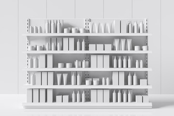 Fototapeta White supermarket shelf with bottles and boxes. Care products on a shelf in a store. 3d rendering obraz