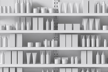 Fototapeta Front view of a white supermarket shelf with products in the form of bottles, boxes, personal care products, cosmetics. Trade concept. 3d rendering obraz