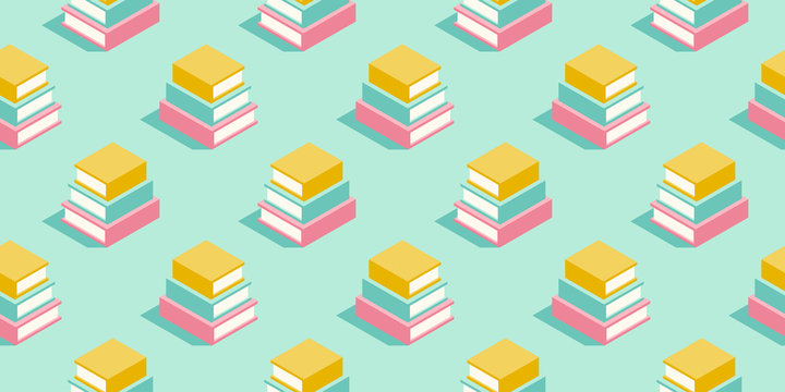 Stack of books seamless pattern in pastel colors. Education minimal vector background for promotion, book fair, literature festival and events.