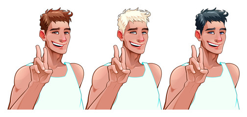 Smiling boy in three versions