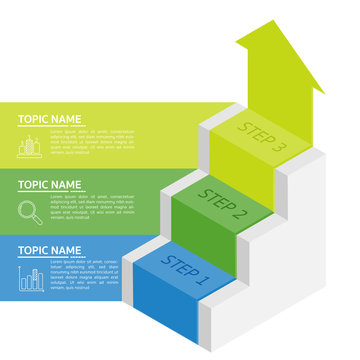 Vector stairs and Target infographic. Template for diagram, graph, presentation and chart. Business infographics startup concept with 3 options, parts, steps or processes. Abstract background.