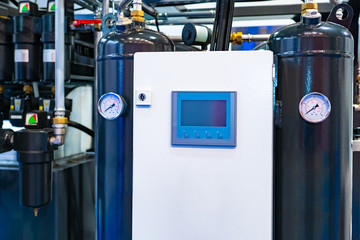 Cooling system in the server room. Nitrogen Control Panel. Cooling system control. Cooling server rooms. Equipment for IT companies. Cylinders with nitrogen. Server Room Equipment.