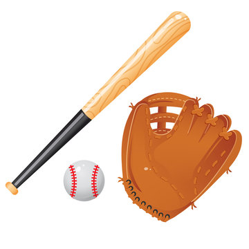 Color images of baseball bat, of ball and of catcher's mitt or glove on white background. Sports equipment. Vector illustration set.