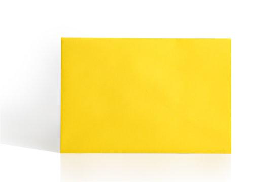 Yellow envelope on white background