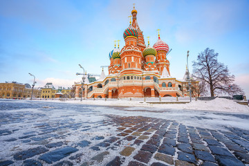 View on St. Basil's Cathedral in Moscow at winter, Russia